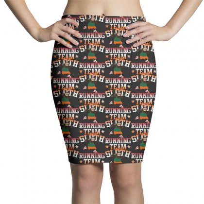 Funny Sloth Running Team Pencil Skirts Designed By Pinkanzee