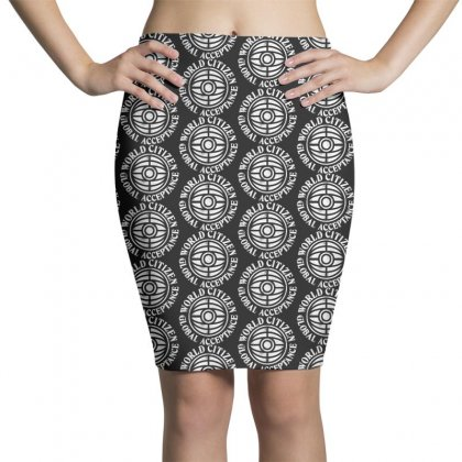 World Citizen On White Pencil Skirts Designed By Pinkanzee