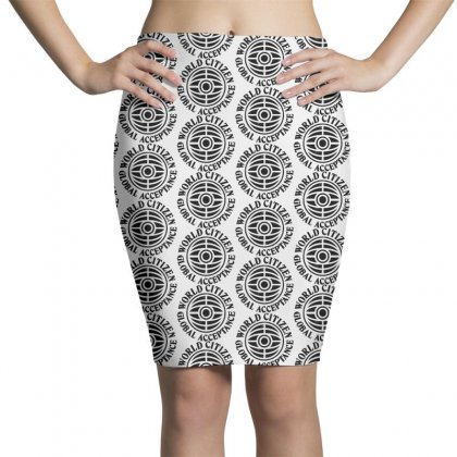 World On Black Pencil Skirts Designed By Pinkanzee
