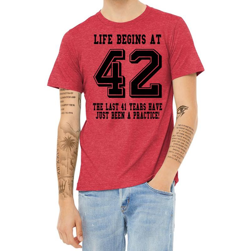 42nd Birthday Life Begins At 42 Heather T-shirt | Artistshot