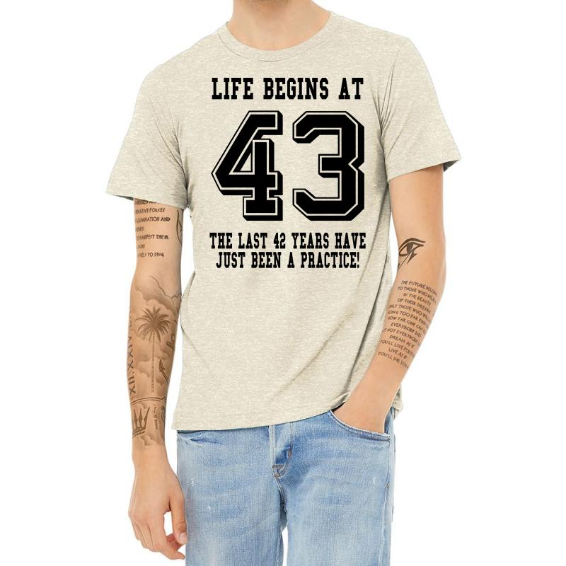 43rd Birthday Life Begins At 43 Heather T-shirt | Artistshot