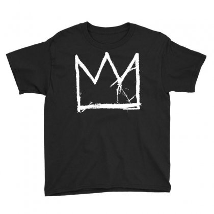 Basquiat King Crown White Youth Tee Designed By Jetspeed001