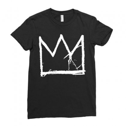 Basquiat King Crown White Ladies Fitted T-shirt Designed By Jetspeed001