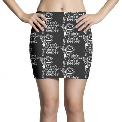 If Shes A Creeper Shes A Keeper Funny Halloween Mini Skirts Designed By Pinkanzee