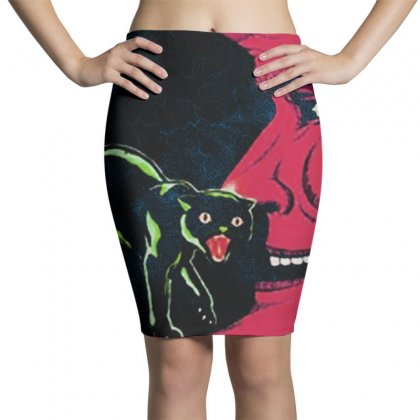 Horror Halloween Beistle Cat On The Moon Pencil Skirts Designed By Pinkanzee