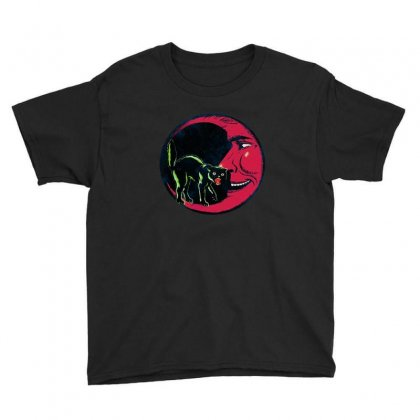 Horror Halloween Beistle Cat On The Moon Youth Tee Designed By Pinkanzee