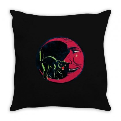 Horror Halloween Beistle Cat On The Moon Throw Pillow Designed By Pinkanzee