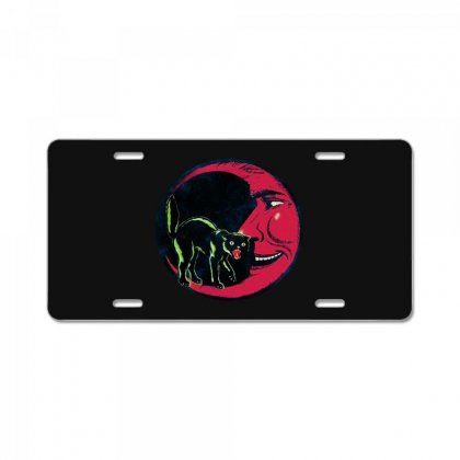 Horror Halloween Beistle Cat On The Moon License Plate Designed By Pinkanzee