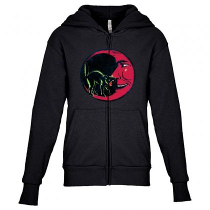 Horror Halloween Beistle Cat On The Moon Youth Zipper Hoodie Designed By Pinkanzee