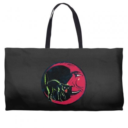 Horror Halloween Beistle Cat On The Moon Weekender Totes Designed By Pinkanzee