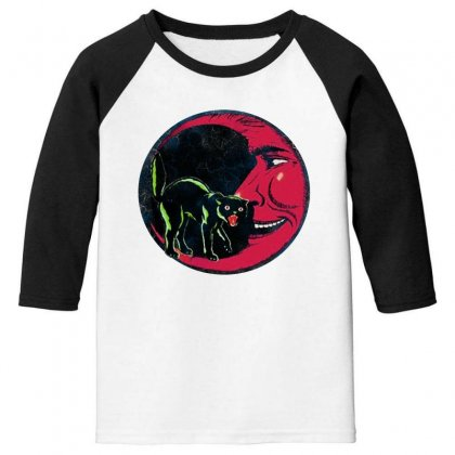 Horror Halloween Beistle Cat On The Moon Youth 3/4 Sleeve Designed By Pinkanzee
