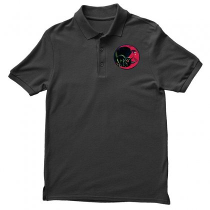 Horror Halloween Beistle Cat On The Moon Men's Polo Shirt Designed By Pinkanzee