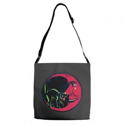 Horror Halloween Beistle Cat On The Moon Adjustable Strap Totes Designed By Pinkanzee