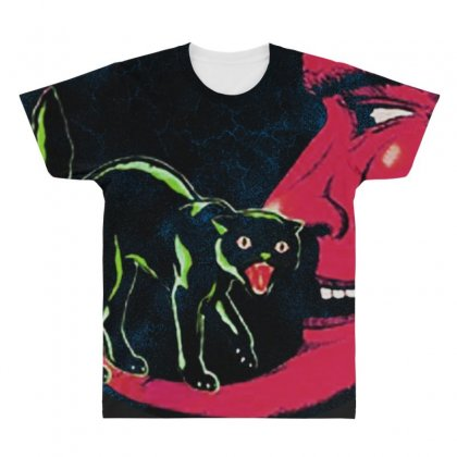 Horror Halloween Beistle Cat On The Moon All Over Men's T-shirt Designed By Pinkanzee