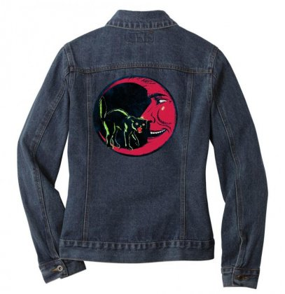 Horror Halloween Beistle Cat On The Moon Ladies Denim Jacket Designed By Pinkanzee