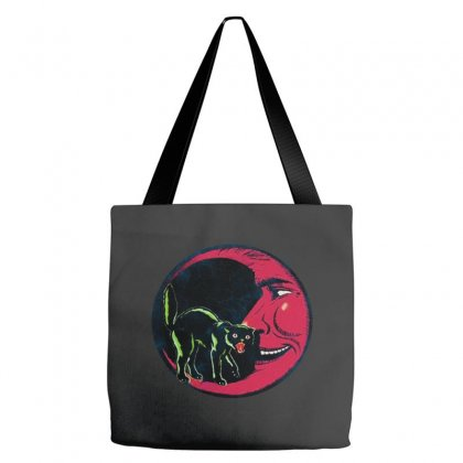 Horror Halloween Beistle Cat On The Moon Tote Bags Designed By Pinkanzee