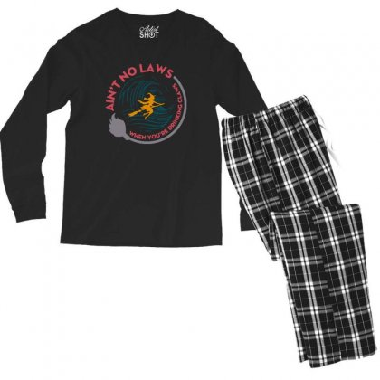 Halloween Witch Ain't No Laws You're Drinking Claws Men's Long Sleeve Pajama Set Designed By Pinkanzee