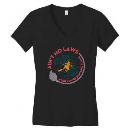 Halloween Witch Ain't No Laws You're Drinking Claws Women's V-neck T-shirt Designed By Pinkanzee