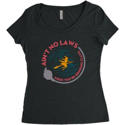 Halloween Witch Ain't No Laws You're Drinking Claws Women's Triblend Scoop T-shirt Designed By Pinkanzee
