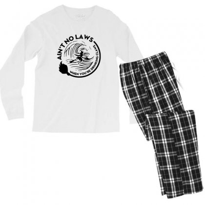 Halloween Witch Ain't No Laws You're Drinking Claws For Light Men's Long Sleeve Pajama Set Designed By Pinkanzee