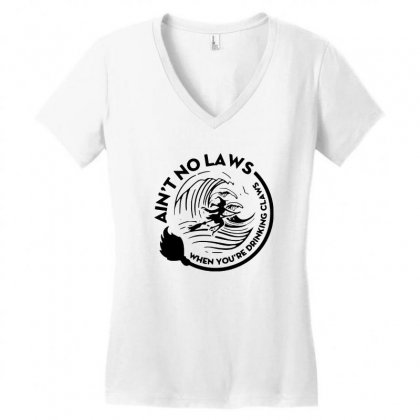 Halloween Witch Ain't No Laws You're Drinking Claws For Light Women's V-neck T-shirt Designed By Pinkanzee