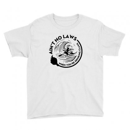 Halloween Witch Ain't No Laws You're Drinking Claws For Light Youth Tee Designed By Pinkanzee