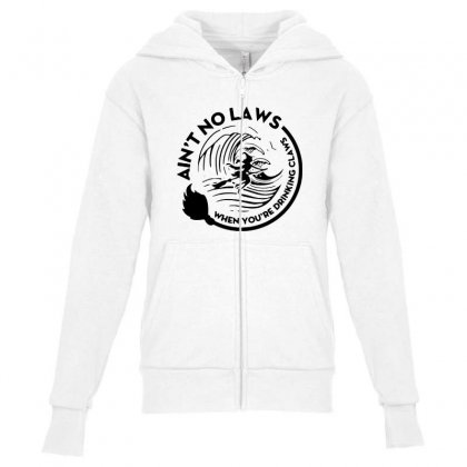 Halloween Witch Ain't No Laws You're Drinking Claws For Light Youth Zipper Hoodie Designed By Pinkanzee