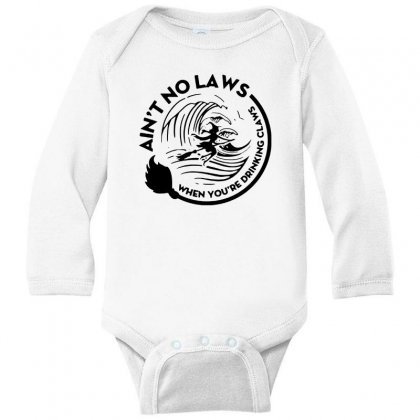 Halloween Witch Ain't No Laws You're Drinking Claws For Light Long Sleeve Baby Bodysuit Designed By Pinkanzee