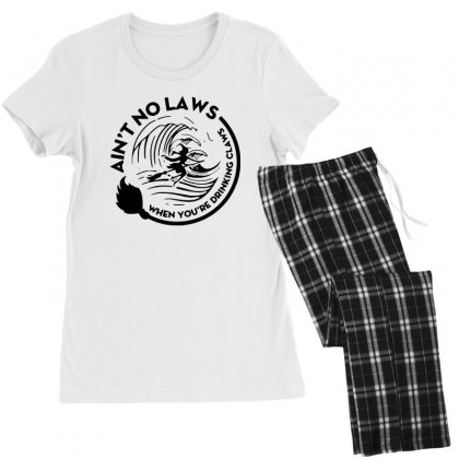 Halloween Witch Ain't No Laws You're Drinking Claws For Light Women's Pajamas Set Designed By Pinkanzee