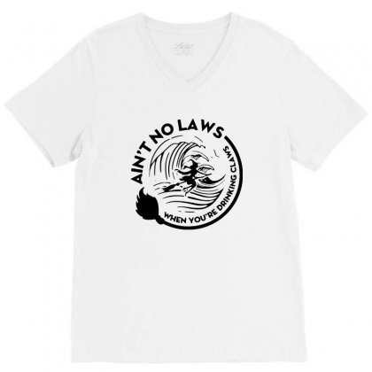 Halloween Witch Ain't No Laws You're Drinking Claws For Light V-neck Tee Designed By Pinkanzee