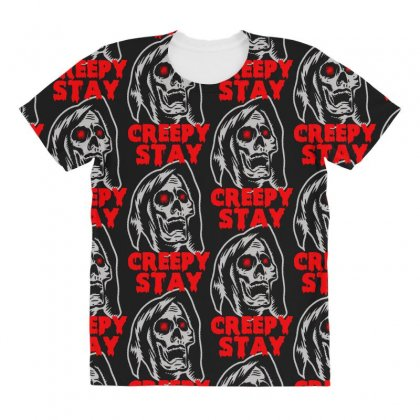 Halloween Skull Stay Creepy All Over Women's T-shirt Designed By Pinkanzee