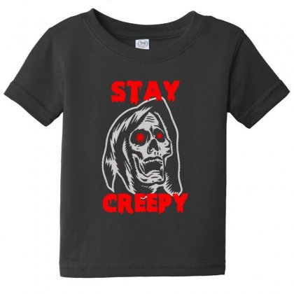 Halloween Skull Stay Creepy Baby Tee Designed By Pinkanzee