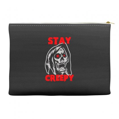 Halloween Skull Stay Creepy Accessory Pouches Designed By Pinkanzee