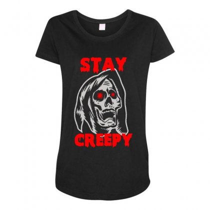 Halloween Skull Stay Creepy Maternity Scoop Neck T-shirt Designed By Pinkanzee