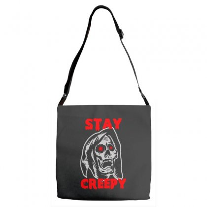 Halloween Skull Stay Creepy Adjustable Strap Totes Designed By Pinkanzee