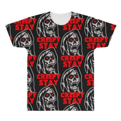 Halloween Skull Stay Creepy All Over Men's T-shirt Designed By Pinkanzee