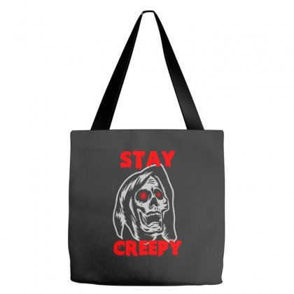 Halloween Skull Stay Creepy Tote Bags Designed By Pinkanzee