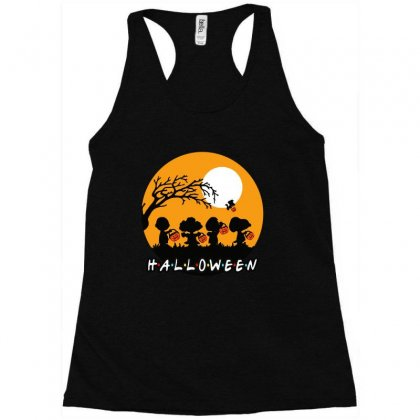 Halloween Moon Snoopy Hold Pumpkin With Woodstock Racerback Tank Designed By Pinkanzee
