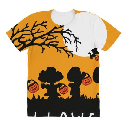 Halloween Moon Snoopy Hold Pumpkin With Woodstock All Over Women's T-shirt Designed By Pinkanzee