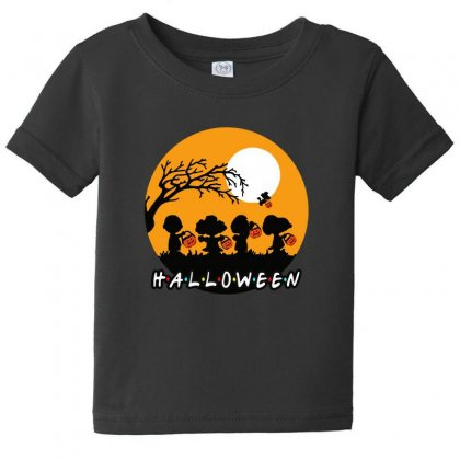 Halloween Moon Snoopy Hold Pumpkin With Woodstock Baby Tee Designed By Pinkanzee