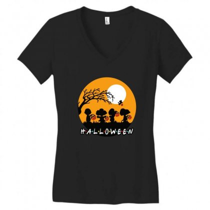 Halloween Moon Snoopy Hold Pumpkin With Woodstock Women's V-neck T-shirt Designed By Pinkanzee