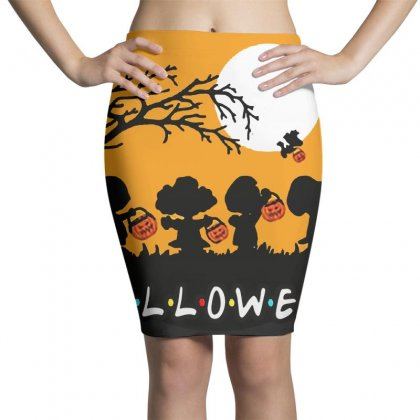 Halloween Moon Snoopy Hold Pumpkin With Woodstock Pencil Skirts Designed By Pinkanzee