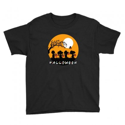 Halloween Moon Snoopy Hold Pumpkin With Woodstock Youth Tee Designed By Pinkanzee