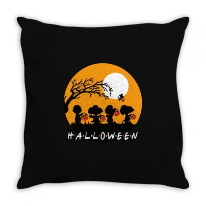 Halloween Moon Snoopy Hold Pumpkin With Woodstock Throw Pillow Designed By Pinkanzee