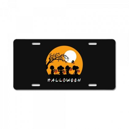 Halloween Moon Snoopy Hold Pumpkin With Woodstock License Plate Designed By Pinkanzee