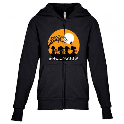 Halloween Moon Snoopy Hold Pumpkin With Woodstock Youth Zipper Hoodie Designed By Pinkanzee
