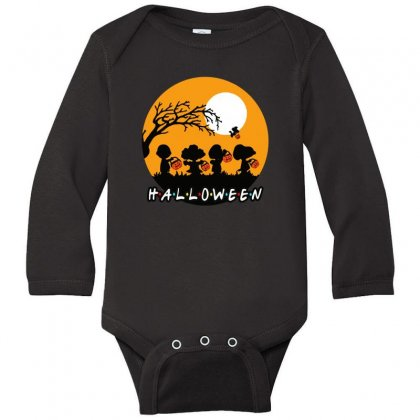Halloween Moon Snoopy Hold Pumpkin With Woodstock Long Sleeve Baby Bodysuit Designed By Pinkanzee