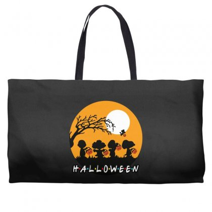 Halloween Moon Snoopy Hold Pumpkin With Woodstock Weekender Totes Designed By Pinkanzee
