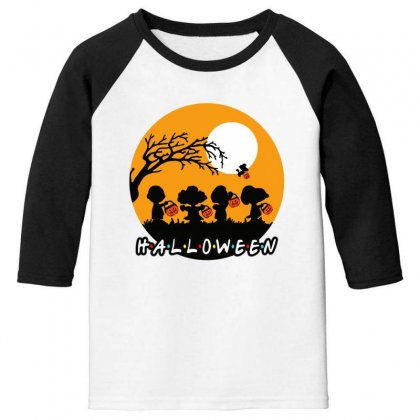Halloween Moon Snoopy Hold Pumpkin With Woodstock Youth 3/4 Sleeve Designed By Pinkanzee