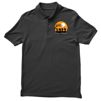 Halloween Moon Snoopy Hold Pumpkin With Woodstock Men's Polo Shirt Designed By Pinkanzee